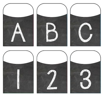 Chalkboard Alphabet Library Pockets - Style 1 - Block Letters & Numbers