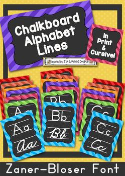 Chalkboard Alphabet Lines-in print & cursive (ZB)