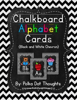 Chalkboard Alphabet Posters {Black and White Chevron}