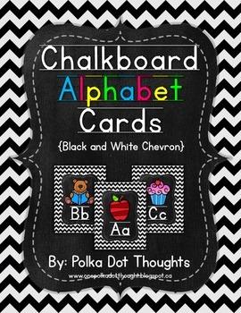 Chalkboard Alphabet Posters {Black and White Chevron}