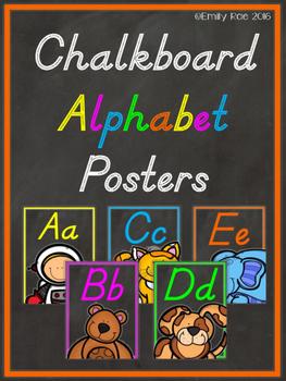 Chalkboard Alphabet Posters D'Nealian Edition