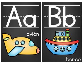 Chalkboard Alphabet Posters- Spanish