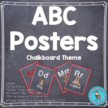 ABC Posters Chalkboard Them Alphabet Cards- 3 sizes