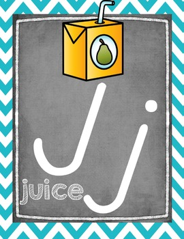 Chalkboard Alphabet Posters with Teal and Pink Chevron