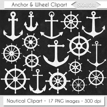 Chalkboard Anchor Clipart Sea Ship Wheel Clip Art Marine Nautical Helm