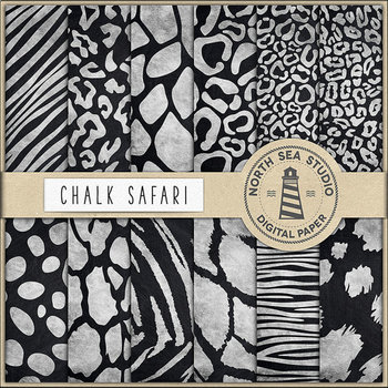 Chalkboard Animal Print Digital Paper, Safari Paper, Chalkboard Background