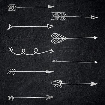 Chalkboard Arrows Clip Art, Tribal Doodle Arrows