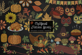 Chalkboard Autumn Bounty Clipart