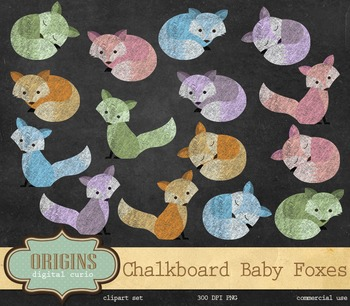 Chalkboard Baby Foxes - PNG clipart set, Clip Art for comm