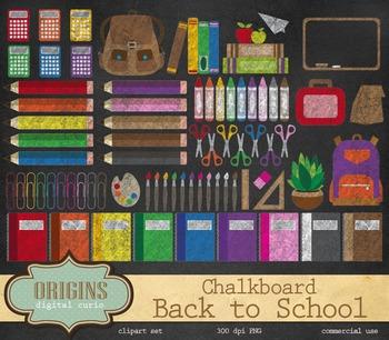 Chalkboard Back to School Clipart, Blackboard Clip Art Graphics
