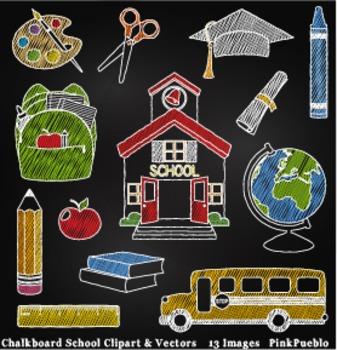 Chalkboard Back to School Clipart Clip Art, Teacher Clipar