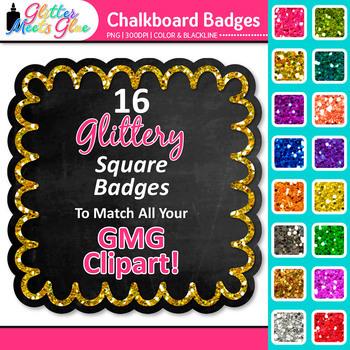 Chalkboard Frame Clip Art {Square Rainbow Glitter Labels for Worksheets}