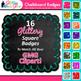 Chalkboard Frame Clip Art {Square Rainbow Glitter Labels f