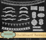 Chalkboard Banners, Borders and Frames Clipart