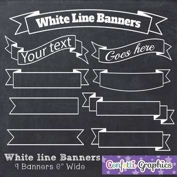 Chalkboard Banners Clip Art White Line Banners Ribbons Labels Transparent PNG