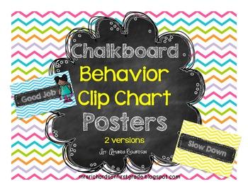 Chalkboard Behavior Clip Chart Posters