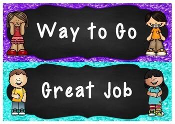 Chalkboard Behavior Reward Peg Chart | Clip Chart **Editable**