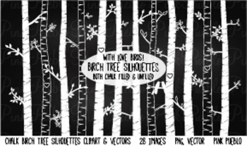 Chalkboard Birch and Aspen Trees Clipart Clip Art - Commercial and Personal Use