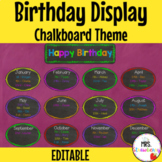 Chalkboard Birthday Display | Birthday Chart **Editable**