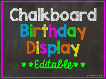 Chalkboard Birthday Display EDITABLE
