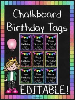 Chalkboard Birthday Tags, EDITABLE