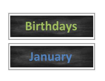 Chalkboard Birthdays Chart