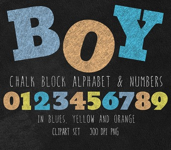 Chalkboard Block Alphabet In Boy Colors Clipart