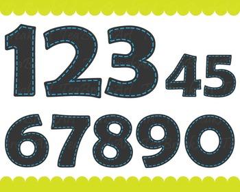 Chalkboard Blue Numbers - Digital Clip Art Graphics (144)