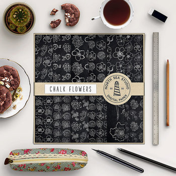 Chalkboard Botanical Paper, Doodle Flower Patterns