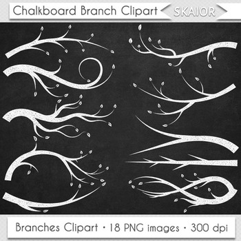 Chalkboard Branches Clipart Trees Leaves Branch Clip Art Silhouette Scrapbooking