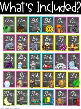 Chalkboard Bright Alphabet - Cursive Alphabet