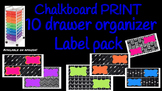 Chalkboard Print Bright Labels for 10-Drawer Organizer