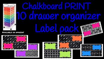 Chalkboard Print Bright Labels for 10-Drawer Organizer