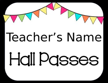Chalkboard & Bright Pennants Themed Hall Passes