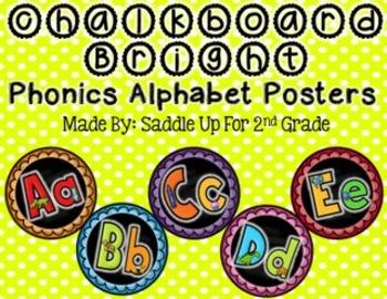 Chalkboard Bright Phonics Alphabet Posters