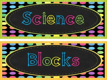 Chalkboard Bright Polka Dots Center Signs. Classroom Decor.