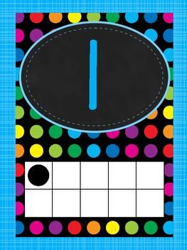 Chalkboard Bright Polka Dots Numbers 1-20 Posters.
