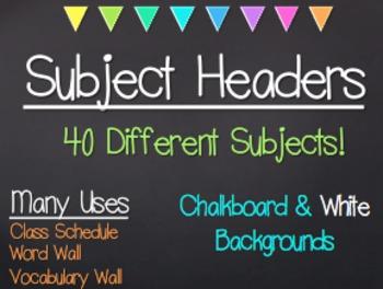 Chalkboard & Bright Triangles Subject Headers
