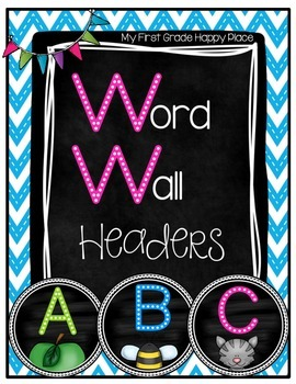 Chalkboard Bright Word Wall Headers/Letters