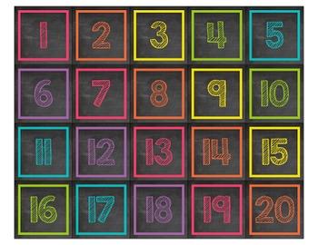 Chalkboard & Brights 100 & 120 Chart Numbers
