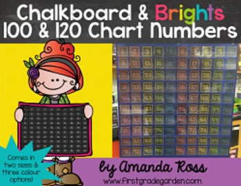 Chalkboard & Brights 100 & 120 Chart Numbers