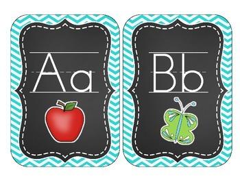 Chalkboard Brights Alphabet Cards: Blue Chevron Set