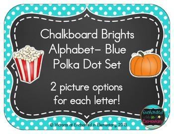 Chalkboard Brights Alphabet Cards: Blue Polka Dot Set