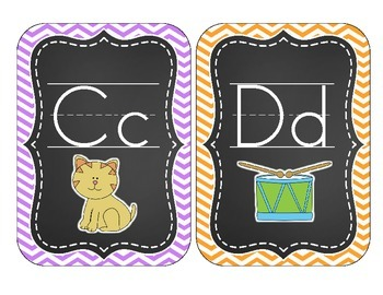 Chalkboard Brights Alphabet Cards: Chevron Set