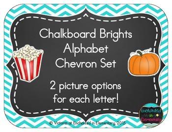 Chalkboard Brights Alphabet Cards: Chevron Set