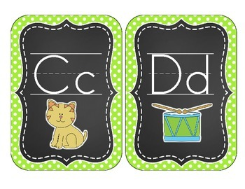 Chalkboard Brights Alphabet Cards: Green Polka Dot Set