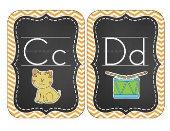 Chalkboard Brights Alphabet Cards: Orange Chevron Set