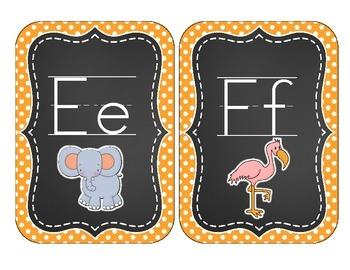Chalkboard Brights Alphabet Cards: Orange Polka Dot Set