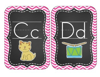 Chalkboard Brights Alphabet Cards: Pink Chevron Set