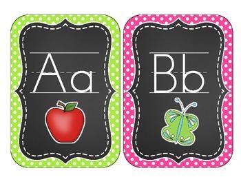 Chalkboard Brights Alphabet Cards: Polka Dot Set